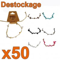 D-557 - Lot de 50 Bracelets pierres et coquillage