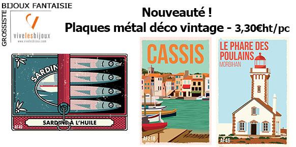 Nouveau ! Plaques métal déco vintage