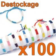 Lot de 100 Bracelets tressés Colors taille Enfant - Déstockage 2014