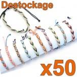 D-153-2E - Lot de 50 Bracelets tressés Raphia Zandoli - Déstockage