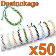 D-154 - Lot de 50 Bracelets tressés ronds - Déstockage