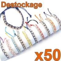 D-155 - Lot de 50 Bracelets tressés cuir - Déstockage