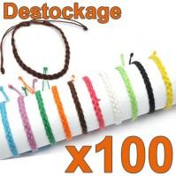 Lot de 100 Bracelets tressés unis - Déstockage Collection 2014