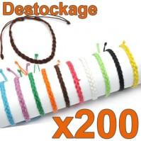 Lot de 200 Bracelets tressés unis - Déstockage Collection 2014