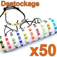 D-161 - Lot de 50 Bracelets brésil larges Déstockage