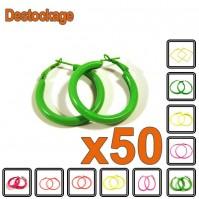D-180 - Lot de 50 Paires de boucles d'oreilles créoles fluo